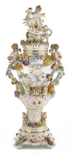 Photo Of Pair German Porcelain Meissen Floral Encrusted Vases Urns