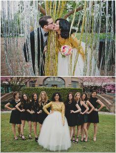 goldene Hochzeit Fotograf von Brautpaar und Brautjungfer Schwarz & Golden & Weiß Hochzeit im Winter Inspiration