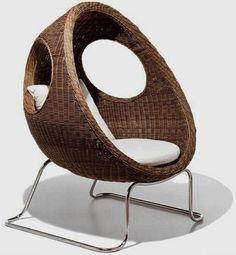 sillón de rattan de diseño moderno