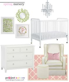 Spring Nursery Design Board - love the pinks and greens (inspired by @Minted's beautiful nursery art prints)