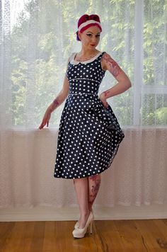 """1950's """"Coraline"""" Polka Dot Rockabilly Dress with Full Skirt, Peter Pan Collar and Ric Rac Trim - Custom made to fit"""