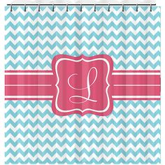 Personalized Shower Curtain - Monogrammed Chevron Shower Curtain. $65.00, via Etsy.