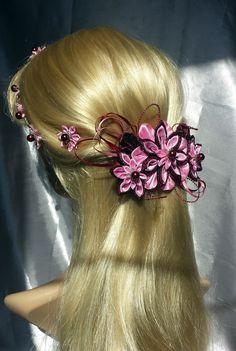 Haarspange,Französische Haarspange ,Kanzashi von Tatyanashop auf DaWanda.com