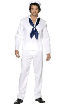 Village People matrozen kostuum voor heren. Mooi matrozen pak voor heren. Het matrozen kostuum bevat een wit shirt, witte broek, witte pet en blauwe sjaal. Carnavalskleding 2015 #carnaval