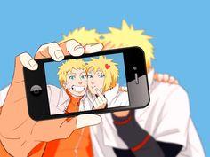 Naruto Uzumaki and Minato Namikaze taking a Selfie :))) Minato is so cute ♥♥♥♥ Naruto Uzumaki Shippuden, Naruto Kakashi, Anime Naruto, Comic Naruto, Naruto Cute, Minato Kushina, Shikamaru, Otaku Anime, Uzumaki Family