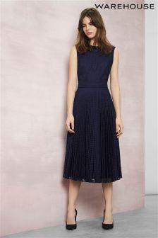 Navy Warehouse Pleated Lace Midi Dress