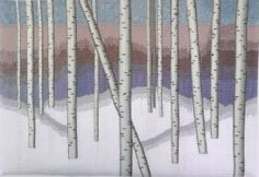 "Shoeman Winter Birches. Elizabeth Shoeman, ""Winter Birches,"" 17 in x 25 in, 8 epi, 2014, photo: E. Shoeman. Cotton warp, wool weft"