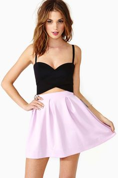 Black cropped top and lilac skater skirt - looove the top