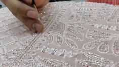 Zardosi Embroidery, Hand Embroidery Dress, Bead Embroidery Patterns, Tambour Embroidery, Couture Embroidery, Embroidery Suits, Embroidery Fashion, Hand Embroidery Designs, Ribbon Embroidery