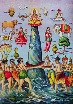 Indian Epics Resources: Image: Vasuki and the churning of the Ocean. You can see a list of the things produced at the churning of the Ocean at Wikipedia: http://en.wikipedia.org/wiki/Samudra_manthan