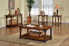 Bozeman Rustic Antique Oak Solid Wood Metal 3pc Coffee Table Set