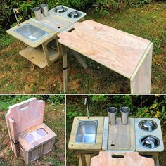 The Honda Element Micro Camper System's removable Camp Kitchen. Camping Kitchen Set Up, Camper Van Kitchen, Kitchen Box, Honda Element Camping, Camping Hacks, Van Camping, Camping Ideas, Camping Stuff, Stealth Camping