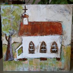 Old Church House painting on canvas, 6x6
