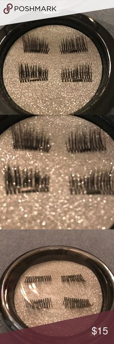 3D magnetic lashes - 1 pair - dual magnets NWT Magnetic False Eyelashes 1 Pair/ 4!pieces ,3D Reusable No Glue Fake Eye Lashes with Magnets.:Natural Looking,Long Lashes for half the eye. Can trim to fit. Case comes with the pair to keep safe and clean.  Black. Makeup False Eyelashes