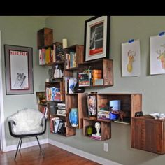 Old wine crate shelving. Please visit: www.thewonderfulwoodcompany.com, TWWCUK@gmail.com | Global Shipping