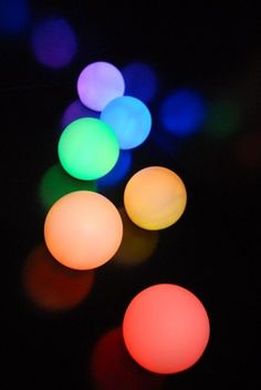 """Small Glowing Orbs (3""""). Other sizes available. 12"""" diameter. Hard white acrylic. Features flash, strobe, fade, or smooth color changing modes. Program your favorite color with the remote control which also includes white color selection and brightness control. Float these light orbs in swimming pools, or punctuate a room by using them as stationary props on a pedestal."""