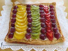 Tarta de hojaldre con crema pastelera y frutas - Los postres de mami – Recetas fáciles y dulces