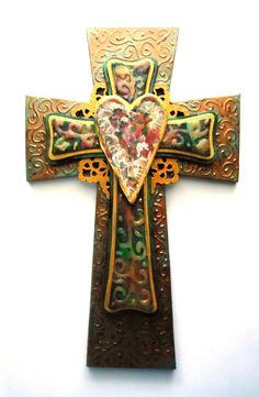 "Wall Decor Crosses wooden 12"" wall cross ~ gold crucifix ~ roman catholic"
