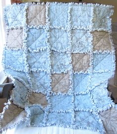 Baby Boy Quilt Rag Quilt French Country Blue and Gray. Love it!