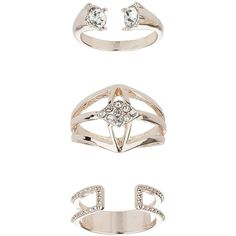 TopShop Rose Gold Three Pack Ring Set ($12) ❤ liked on Polyvore featuring jewelry, rings, fillers, clear, clear crystal ring, topshop rings, topshop jewelry, red gold ring and topshop