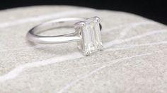 Emerald Cut Diamond Ring by David Klass Jewelry Emerald Cut Diamonds, Diamond Cuts, Solitaire Rings, David, Silver Rings, Jewelry, Jewlery, Jewerly, Schmuck