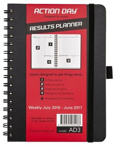 Action Day 2016 - 2017 Wire-Bound Academic Calendar Planner Journal, 6 X 8-Inch, Black (AD3), 2016 Amazon Hot New Releases Educational Supplies  #Office-Products