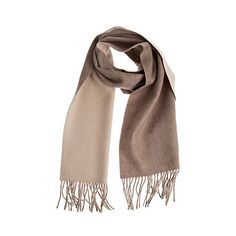 Classic Two-Toned Merino Wool & Cashmere Scarf (395 CNY) ❤ liked on Polyvore featuring accessories, scarves, shawl scarves, fringe scarves, cashmere scarves, fringe shawl and merino wool shawl