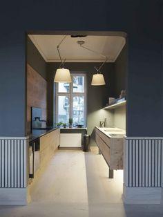 Dinesen wood kitchen by Garde Hvalsoe in the Dinesen showroom in Sotorvet, Copenhagen | Remodelista