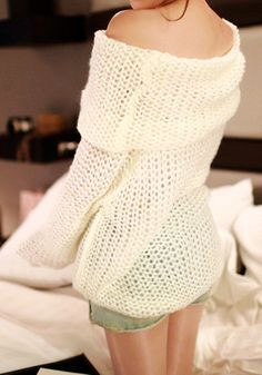 Cowl Neck Sweater - White - Top