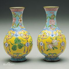 Chinese enamel on copper vases, qianlong period