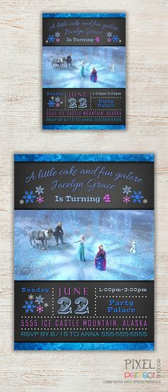 Frozen Birthday Invitation Frozen Birthday by PixelPerfectShoppe