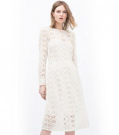 Zara Embroidered Dress With Full Skirt // White lace midi dress