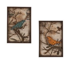 SEI Cranston Vintage Bird Wall Panel, Set of 2