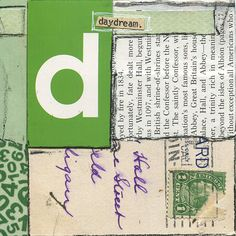 """""""Daydream"""" Mixed-media collage in alphabet series with vintage papers. 4″ x 4″"""