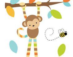 SAFARI Kindergarten Abziehbild hängenden Affe von decampstudios