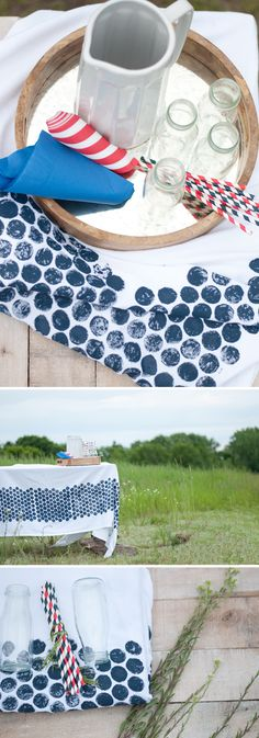 #DIY a color-coordinated table cloth using a surprising material... bubble wrap!