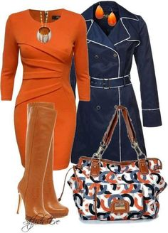 Navy blue & burned orange outfit