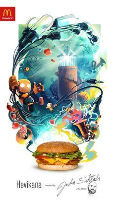 campaña de hamburguesas creada con originales ilustraciones