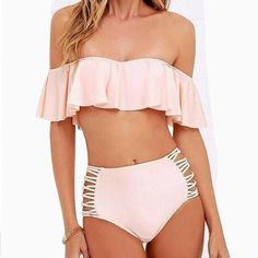 "Available in many different colors! This one is a gorgeous high waisted off the shoulder swimsuit with the bottoms having ruffled and open sides around the hips. Gorgeous look for any beach or pool around the world! ---------------- Get 15% off! Use Code ""FALL17"" FREE SHIPPING ---------------- See something you like? Contact us! ------------ #torontostyle #torontofashionblogger #fashionworld #shoptoronto #canada #proudlycanadian #madeincanada #the6 #the6ix #hottrends #outfitideas…"