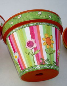 "Hand Painted Terracotta Pot 6 Inch ""Sherbet Stripes""- Made to Order. $25.00, via Etsy. thepaintedpine"