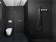 Wandverkleidung Bad im Schwarz