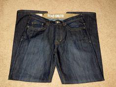 Men's Ecko Unltd Baggy Fit Cotton Blend Embroidered Dark Blue Jeans Size 34/34 Now $9.87