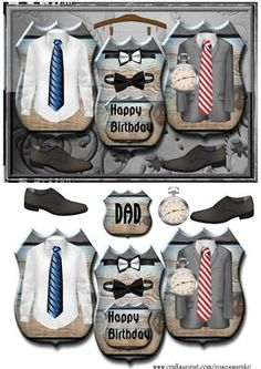 Men s Clothes Panel Birthday Dad on Craftsuprint designed by Marijke Kok - This is a great male card design in dark and light gray color, for birthday,fathersday,with mens clothes,on panels. - Now available for download!