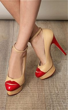 Charlotte Olympia ankle strapped platforms!These lips will walk all over you so fierce!