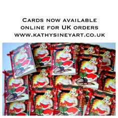 New pinup Christmas Cards from a watercolour painting by Kathy Siney