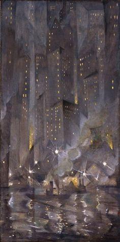 NYC. New York by Night, 1920. Oil on canvas // Christopher Richard Wynne Nevinson (English, 1889-1946)