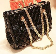 PU Leather Fashionable Trendy Soft Quilted Metal Chain Black Handle Shoulder Bag Satchel Purse Hobo Handbag Tote by ProDesign DC, http://www.amazon.com/dp/B007SAMKMQ/ref=cm_sw_r_pi_dp_Y4H6rb05HPYCA