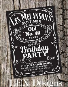 Whiskey Label Birthday Invitation by Lexdesignsco on Etsy, $20.00
