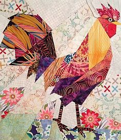 "Ann Shaw paper piecing block ""GALLUS GALLUS"". She uses Ruth McDowell's ""straight-line paper piecing"" techniques. You prepare a freezer paper template for your chicken pattern and begin the process of selecting fabrics for your design. ""Having a broad variety of fabric choices is key to this style of quilt - the fabric patterns are what will create texture and depth in your quilt."""