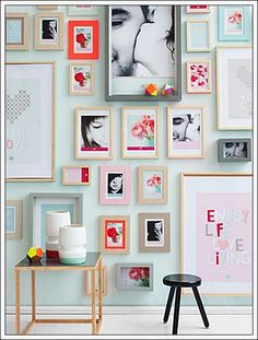 Floor to ceiling wall gallery. This would be perfect in my new dining room!